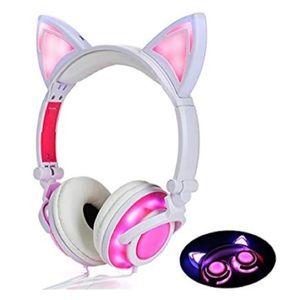 Headphone Cat Ear Headset,LED Light-USB Chargeable